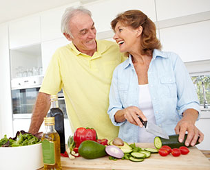 A Senior couple eating healthy food for a happy life
