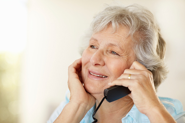 Closeup of a Senior Woman Smiling on the Phone