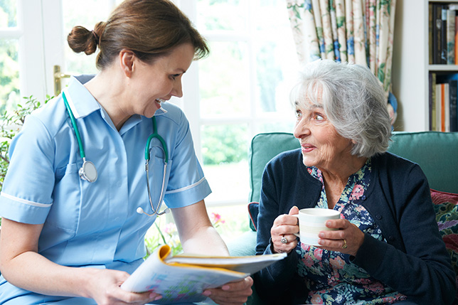 Nurse Discussing Medical Notes With Senior Woman at a Nursing Home