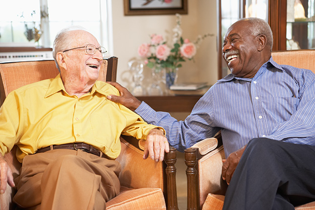 Senior men relaxing in armchairs at an independent living facility