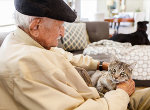 Old Man with Cat - Assisted and Independent Living